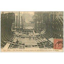 carte postale ancienne PARIS. Le Métropolitain. Caisson Place Saint-Michel du Chemin de Fer. pour Meaux 1907