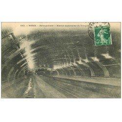 carte postale ancienne PARIS. Le Métropolitain. La Station Temple 1913