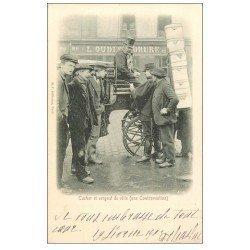 carte postale ancienne PARIS. Vieux Métiers. Cocher et Sergent de Ville la Contravention 1902 Kunzi F.