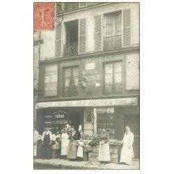 Superbe Carte Photo PARIS 14. Tabac Buvette Buron Dechezleprêtre 41 rue du Faubourg Saint-Jacques. Cacao Van Houten 1905