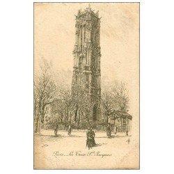 carte postale ancienne ANCIEN PARIS. La Tour Saint-Jacques. Par Robin en 1904