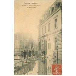 carte postale ancienne INONDATION DE PARIS 1910. La Mairie de Clichy