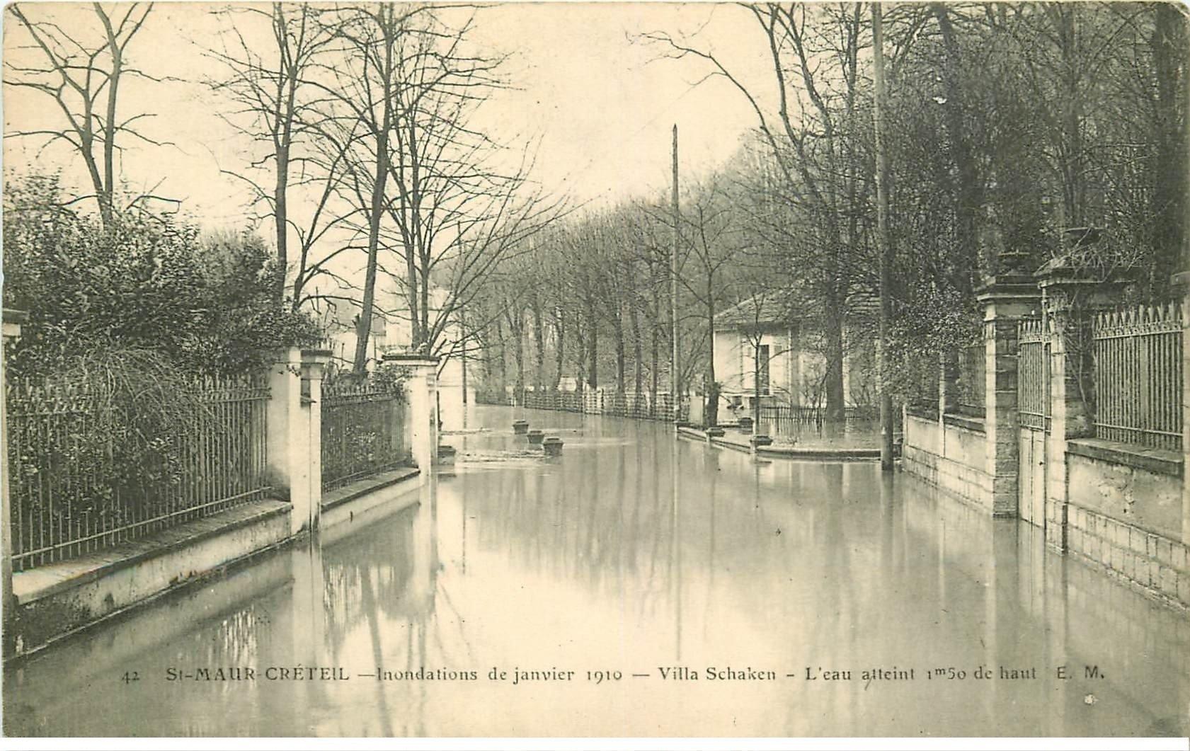 Inondation et crue de 1910 saint maur creteil 94 villa schacken tampon legoy le havre for Comboulevard de creteil saint maur