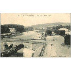 carte postale ancienne 02 CHATEAU-THIERRY. Péniche sur la Marne et Allées
