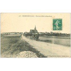 carte postale ancienne 45 BROMEILLES. Panorama et Attelage Route de Bainvillier vers 1910