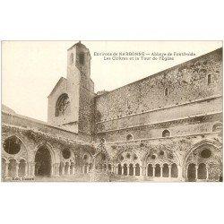 carte postale ancienne 11 ABBAYE DE FONTFROIDE. Cloîtres et Tour de l'Eglise