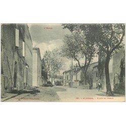 carte postale ancienne 11 ALZONNE. Place du Christ 1918