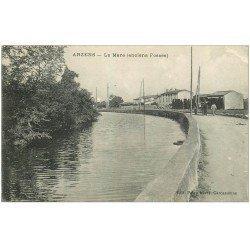 carte postale ancienne 11 ARZENS. La Mare anciens Fossés 1917