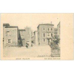 carte postale ancienne 11 AZILLE. Place du Plô. Edition Salinier
