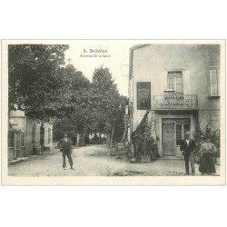 carte postale ancienne 11 BELVEZE. Avenue de la Gare. Pharmacie