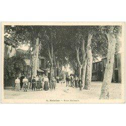 carte postale ancienne 11 BELVEZE. Café du Marché Route Nationale