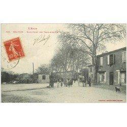 carte postale ancienne 11 BELVEZE. Rond-Point des Trois-Avenues 1908. Boulangerie et Tabac