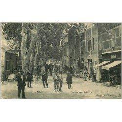 carte postale ancienne 11 BIZE. Echaffaudage Avenue des Platanes 1907