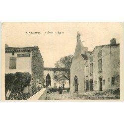 carte postale ancienne 11 CAILHAVEL. Ecole et Eglise. Débit de Tabac