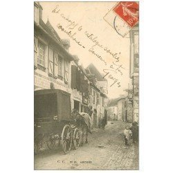 carte postale ancienne 64 ARTHEZ. Attelage de livraison devant la Boucherie 1907