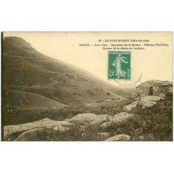 carte postale ancienne 64 ASCAIN. Cabane de la Chasse au Vautour 1908. Carte Photo émaillographie. Plateau d'Ihi-Zelay