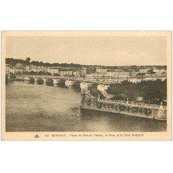 carte postale ancienne 64 BAYONNE. Place du Réduit et Pont Saint-Esprit
