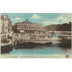 carte postale ancienne 64 BAYONNE. Pont Marengo et Théâtre n°2