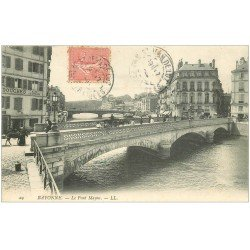 carte postale ancienne 64 BAYONNE. Pont Mayou et Bains Douches 1908
