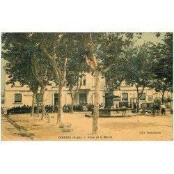 carte postale ancienne 11 CAPENDU. Ecoles Place de la Mairie. Superbe Carte toilée 1908