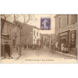 carte postale ancienne 11 CAPENDU. Epicerie Rue de Verdun 1928