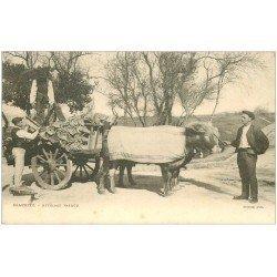 carte postale ancienne 64 BIARRITZ. Attelage Boeufs basques transport de tuiles vers 1900