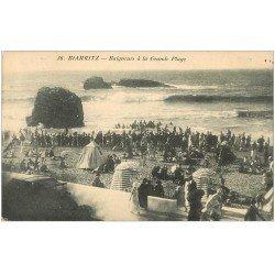 carte postale ancienne 64 BIARRITZ. Baigneurs Grande Plage 1936