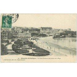 carte postale ancienne 64 BIARRITZ. Deux Casinos et Jardins 1908