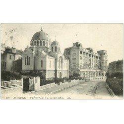 carte postale ancienne 64 BIARRITZ. Eglise Russe et Carlton Hôtel 1914