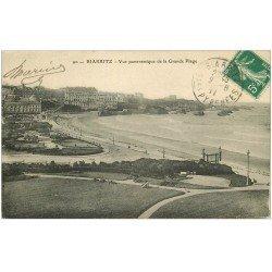 carte postale ancienne 64 BIARRITZ. Grande Plage. 1911