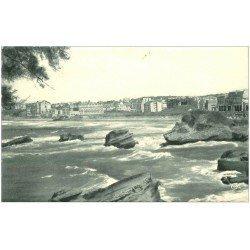 carte postale ancienne 64 BIARRITZ. Grande Plage. Bords dentelés 1956