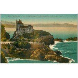 carte postale ancienne 64 BIARRITZ. La Villa Belza et Pyrénées