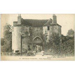 carte postale ancienne 02 CHATEAU-THIERRY. Porte Saint-Pierre Jardiniers 1918