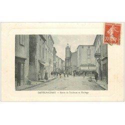 carte postale ancienne 11 CASTELNAUDARY. Horloge Route de Toulouse 1912. Chapellerie et Garage