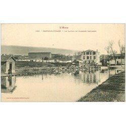 carte postale ancienne 11 CASTELNAUDARY. Lavoir et Caserne Lapasset. Lavandières