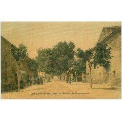 carte postale ancienne 11 CONILHAC-DU-PLAT-PAYS. Avenue de Carcassonne 1909. Superbe carte toilée