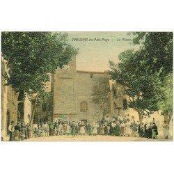 carte postale ancienne 11 CONILHAC-DU-PLAT-PAYS. La Place 1909. Superbe carte toilée