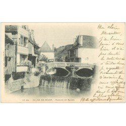 carte postale ancienne 64 SALIES-DE-BEARN. Cascade du Saleys 1902
