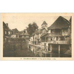 carte postale ancienne 64 SALIES-DE-BEARN. Vue sur le Saleys 1939