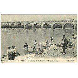 carte postale ancienne 47 AGEN. Lavandières Laveuses sur la Garonne. Pont-Canal