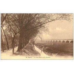 carte postale ancienne 47 AGEN. Le Pont Canal (petite restauration) verso