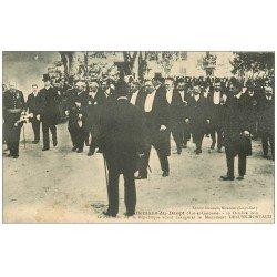 carte postale ancienne 47 ALLEMANS-DU-DROPT. Inauguration Monument Deluns-Montaud 1909. Visite du Président