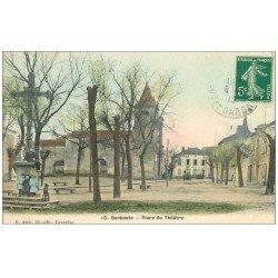 carte postale ancienne 47 BARBASTE. Enfants Place du Théâtre 1910. Café du Commerce