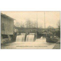 carte postale ancienne 47 CASTELJALOUX-LES-BAINS. Chute du Moulin de Lannes 1918. Ouvriers près écluse