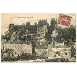 carte postale ancienne 47 CUZORN. Rocher et ruines du Château 1931