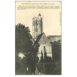 carte postale ancienne 47 HAUTEFAGE. Eglise et Tour 1906