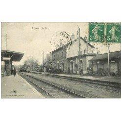 carte postale ancienne 47 LIBOS. La Gare 1915 Train et Locomotive à vapeur