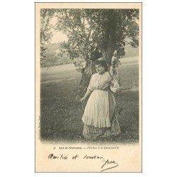 carte postale ancienne 47 LOT-ET-GARONNE. Fileuse à la Quenouille 1908. Vieux métiers