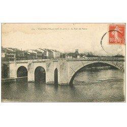carte postale ancienne 47 VILLENEUVE-SUR-LOT. Le Pont de Pierre 1918
