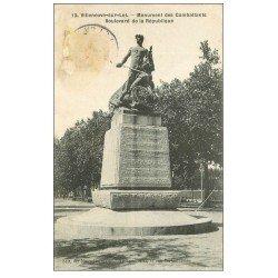 carte postale ancienne 47 VILLENEUVE-SUR-LOT. Monument Combattants boulevard de la République